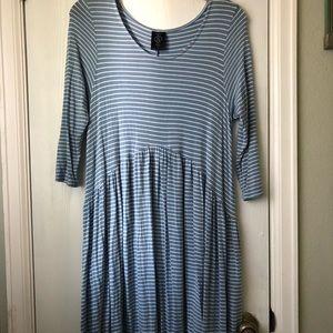 Blue Striped Dress with Pockets